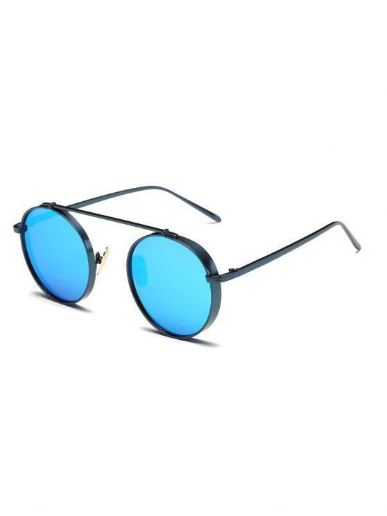women's Chunky Frame Round Mirrored Sunglasses - ICE BLUE