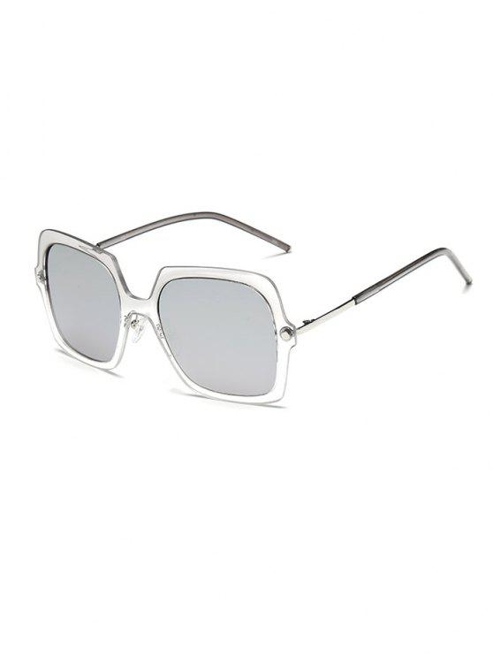 hot Ombre Rims Square Mirrored Sunglasses - SILVER