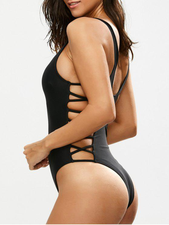 shops Crisscross Strap Cut Out Swimsuit - BLACK S