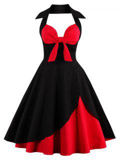 Halter Corset Vintage Rockabilly Swing Dress - Red With Black 4xl