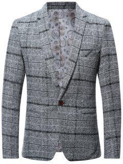 Wool Blend One Button Lapel Check Blazer - Gray 2xl