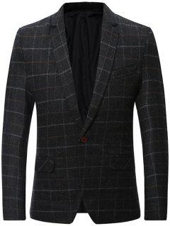 Wool Blend One Button Checked Blazer - Black L