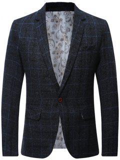 Wool Blend One Button Plaid Blazer - Cadetblue L