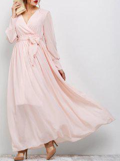 Vestido Largo Maxi Manga Larga Diseño Superpuesto  - Rosa L