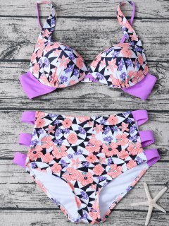 Geometric Floral Print High Waisted Bikini - Multicolor M