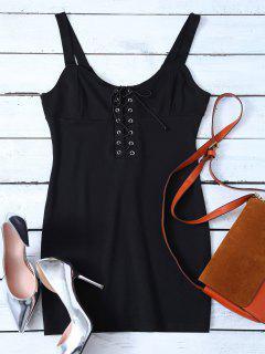 Straps Lace Up Bodycon Mini Dress - Black S