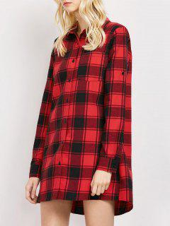 Checked Long Shirt - Red Xl