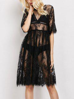 Vestido Panel Encaje Transparente Scallopped  - Negro L