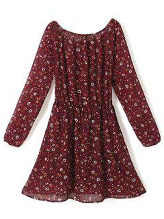 A Line Floral Long Sleeve Chiffon Dress - Claret S