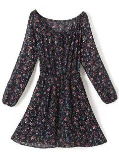 A Line Floral Long Sleeve Chiffon Dress - Purplish Blue S