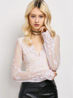 Long Sleeve Semi Sheer Lace Top - Light Pink Xl