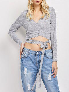 Long Sleeved Cropped Wrap Top - Gray L