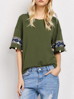 Embroidered Pompom Sleeve Tee - Army Green Xl
