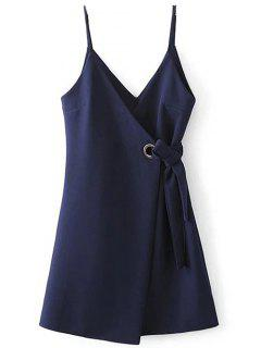 A Line Wrap Slip Dress - Purplish Blue S