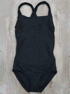 Backless Crossover One-Piece Swimwear - Black S