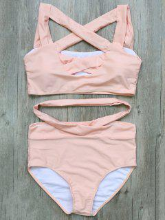 Crossover Cutout Bikini Set - Pink S