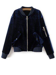Pockets Zippers Velvet Bomber Jacket - Royal Blue S
