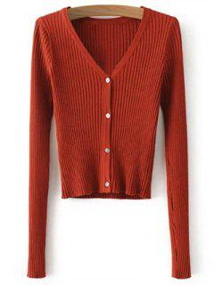Buttons Cropped Ribbed Cardigan - Jacinth