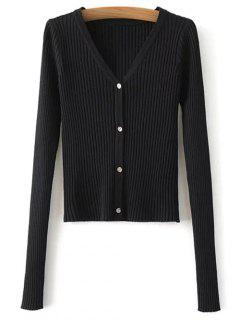 Buttons Cropped Ribbed Cardigan - Black