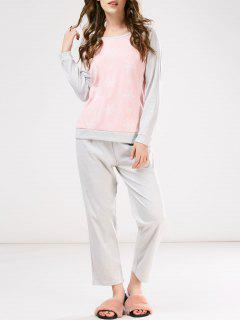 Snowflake Tee With Pants Loungewear - Pink And Grey M