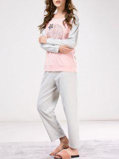 Two Tone Printed Tee With Pants Loungewear - Pink And Grey M