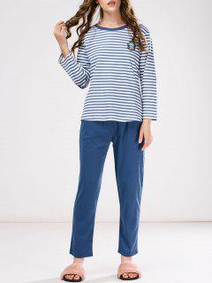 Striped Patch Design Tee With Pants Loungewear - Blue M