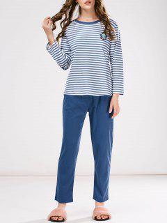 Pyjama T-Shirt Rayé Avec Patch+ Pantalon - Bleu M