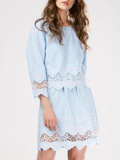 Lace Panel Scalloped Sleep Dress - Light Blue