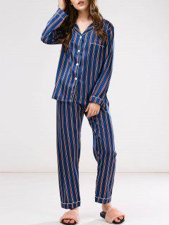 Pyjama Rayé Boutonné En Coton - Bleu L