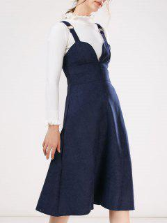 Faux Suede Pinafore A-Line Dress With Fitting Knitwear - Blue S