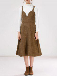 Faux Suede Pinafore A-Line Dress With Fitting Knitwear - Khaki S