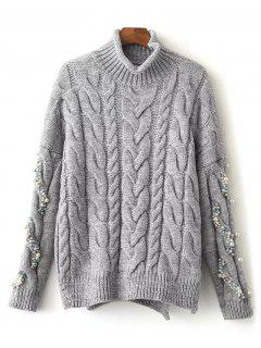 Faux Pearl High Neck Cable Knit Sweater - Gray