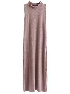 Side Slit Sleeveless Mock Neck Dress - Light Coffee S