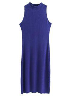 Side Slit Sleeveless Mock Neck Dress - Sapphire Blue S