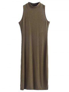 Side Slit Sleeveless Mock Neck Dress - Army Green S