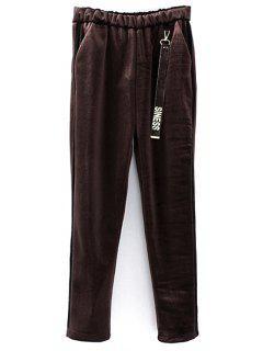 Siness Elastic Waist Velvet Pants - Coffee