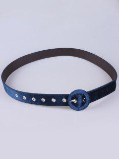 Cinturón Imitación Cuero Terciopelo Hebilla Redonda - Azul