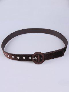 Faux Leather Velvet Belt - Coffee