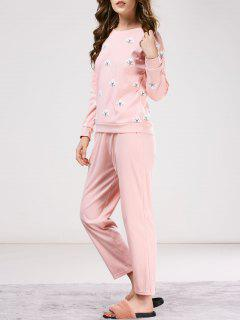 Printed Tee With Pants Loungewear - Pink 2xl