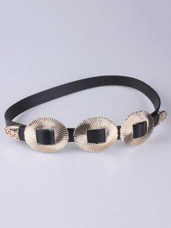 Scallop Faux Leather Belt - Golden