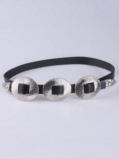 Scallop Faux Leather Belt - Silver