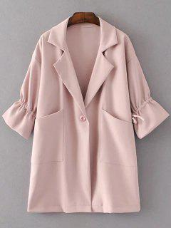 Drawstring Lapel Flare Sleeve Coat - Pink S