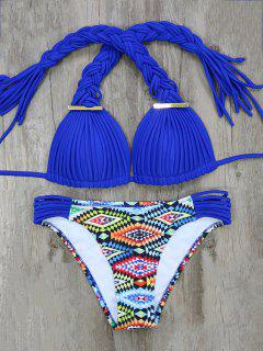 Argyle Braided Bikini Set - Blue S