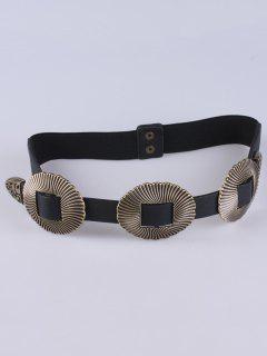 Cinturón Elástico Hebilla Vieira Cuero Artificial  - Negro