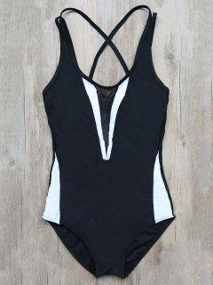 Color Block Criss-Cross Maillots De Bain - Noir S
