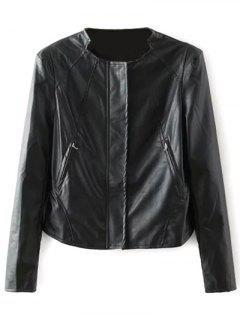 Leopard Lining Faux Leather Biker Jacket - Black M