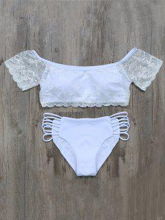 Padded Dentelle Panel Swimsuit - Blanc L
