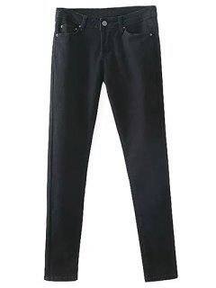 Pantalon Cigarette Skinny Avec Des Poches - Noir L