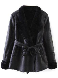 Belted Fleece Faux Leather Coat - Black M