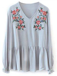 Smock Floral Embroidered T-Shirt - Light Gray